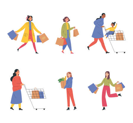 Collection of happy people with shopping bags and carts. Set of different man, woman and child with trolley and shopping bag isolated on white.Young people taking part in seasonal sale at mall.