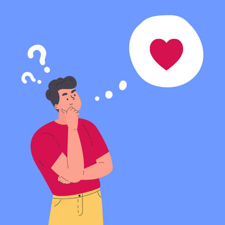 Young man in doubt thinks about love. Idea about relationships and romance. Vector flat illustration. Confused young guy with question marks. Vector colorful illustration in flat style. Vettoriali