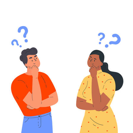 Couple of man and woman having a question. Male and female characters standing in thoughtful pose holding chin and question marks above their head. Quarrel, doubts or interest in relationship. Vector