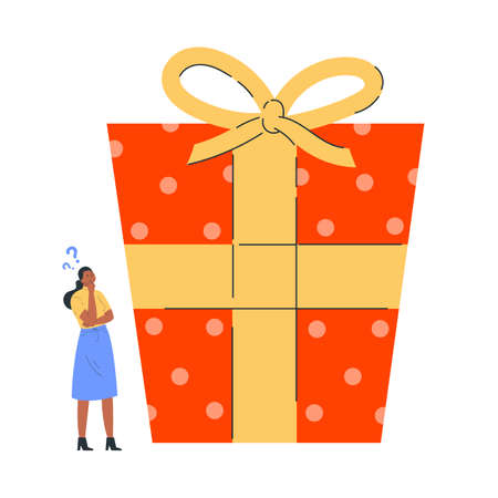 Young woman in doubt thinks about present. Girl is thinking about gift for the New Year. Confused young woman with question marks thinking about what is inside the gift. Vector colorful illustration. 向量圖像