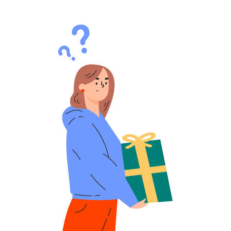 Young woman in doubt thinks about present. Girl is thinking about what gift to give for the New Year. Confused young woman with question marks. Vector colorful illustration in flat style.