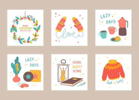 Set of Christmas and Happy New Year card templates. Trendy retro style. Cozy posters set. Template for greeting scrapbooking, congratulations, invitations, stickers, planners.Vector flat cartoon style Illusztráció