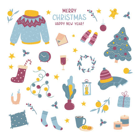 Hygge christmas. Winter holiday decor, gifts, clothing. Candle, socks and mittens xmas home symbols, cartoon vector set. Christmas hygge, doodle cozy things. Vector illustration in flat style Illusztráció