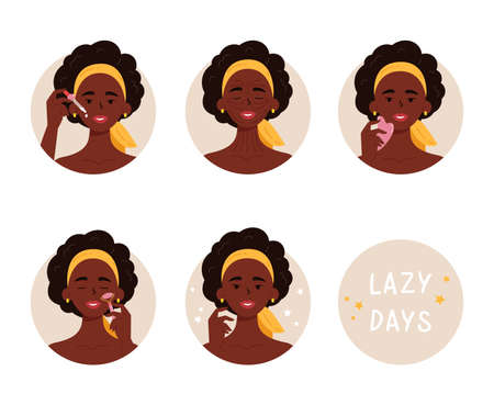 African American woman with bottle of face oil, facial gua sha stone and roller. Instructions for facial massage with massage lines. Anti-aging skin care method step by step. Vector illustration. Illusztráció