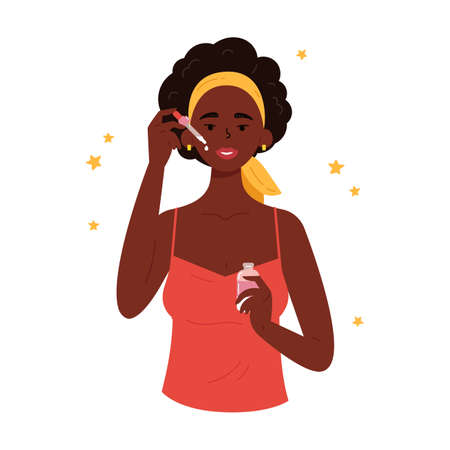 The girl applies a cosmetic product on the skin with a pipette. Young beautiful woman with bottle of face serum. Anti-aging skin care method. Vector flat illustration on white. Vecteurs
