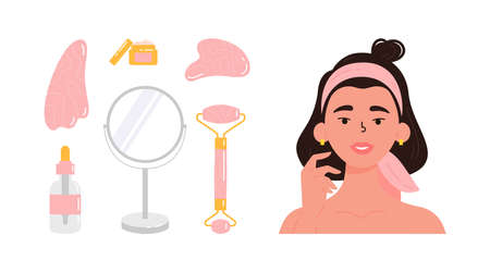 Young beautiful woman with bottle of face serum, facial gua sha stone, roller, mirror, cream. Facial yoga. Brunette woman massaging her face. Anti-aging skin care method. Vector flat illustration.
