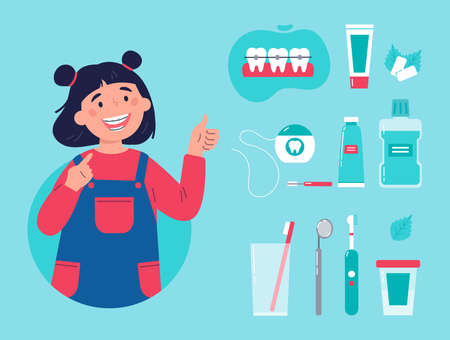 Teenager showing her smile with dental braces. Trendy girl with various accessories for daily dental care. Toothbrush, dental floss, mouthwash, braces, chewing gum. Vector cartoon illustration.