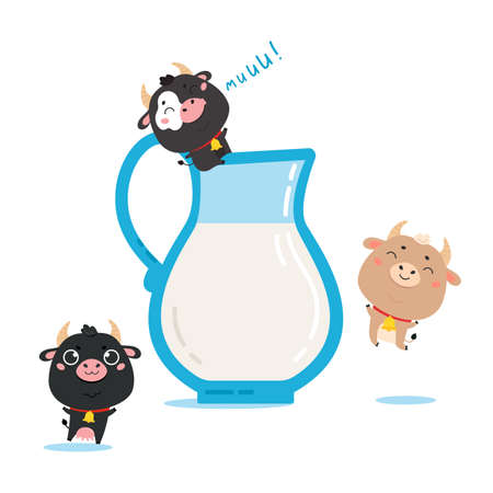 Illustration of farm cows and ox with milk glass jug. Cute cartoon animal character on white background. Vector funny mascot for printing on products and packaging containing milk in simple style.
