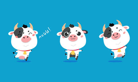 Set of cute cartoon cows on blue background. Vector funny mascot. Vector Illustration of farm cow for printing on products and packaging containing milk in simple children's style.