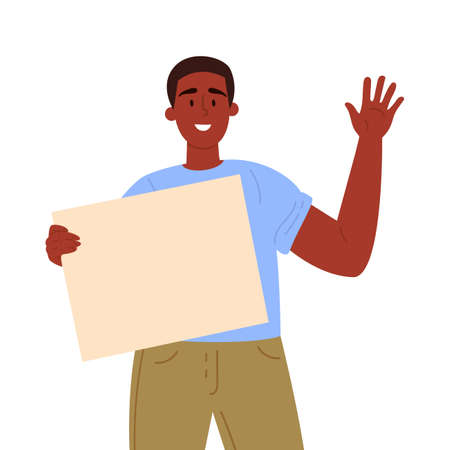Man holding a blank poster with place for text. A young guy holds a bullet leaf in his hand. Teenage guy shows a poster and waves his hand. Hand drawn style vector trendy illustration.