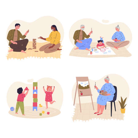 Set of family home activities. Happy parents and children playing games, painting together. Grandparents with grandchildren. Rest at home. Vector illustration flat cartoon style. 向量圖像