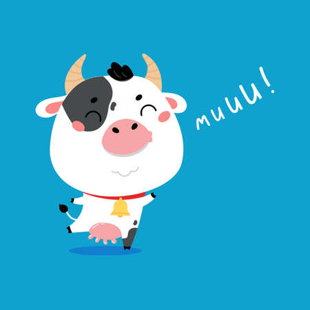 Cute cartoon farm milk animal character on blue background. Vector funny mascot. Vector Illustration of farm cow for printing on products and packaging containing milk in simple children's style.