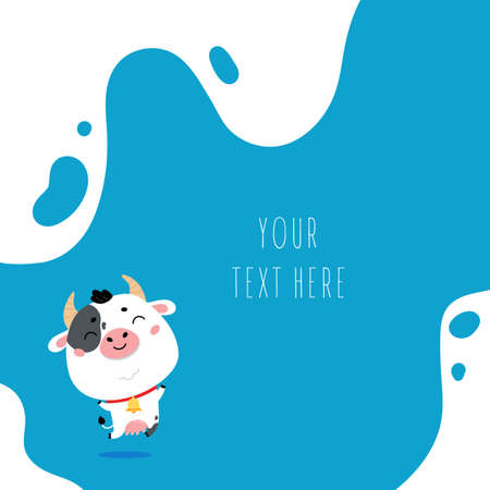 Cute cartoon farm milk animal character on blue background. Vector funny mascot. Vector Illustration of farm cow for printing on products and packaging containing milk. 向量圖像