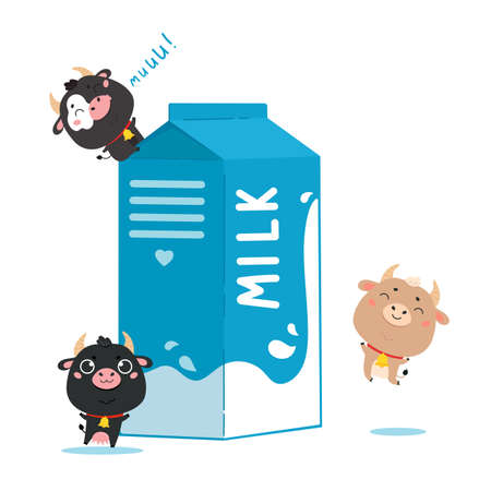 Illustration of cow and ox with a package of milk. Cute cartoon animal characters on white background. Vector funny mascot for printing on products and packaging containing milk in flat style.