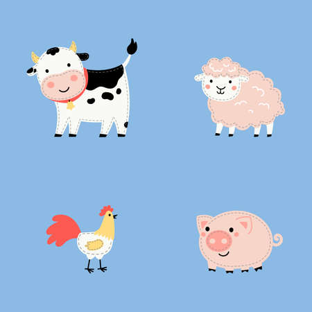 Set of cute cartoon farm animals isolated on blue background.Farm animals and bird in trendy flat style, including cow, sheep, rooster, pig.Vector illustration design for stickers, stripe, embroidery.