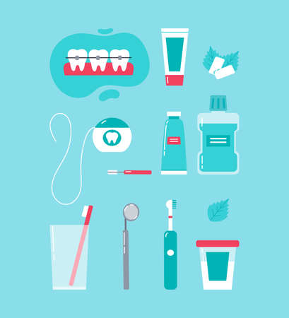 Dental care concept. Various accessories for daily dental care. Toothbrush, dental floss, mouthwash, braces, chewing gum, mint, dentifrice. Vector cartoon illustration in trendy colors. 向量圖像