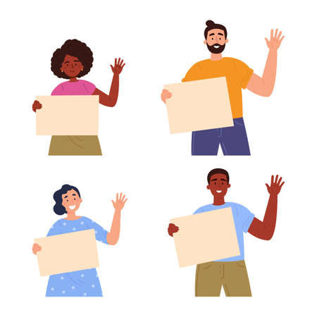 People holding a blank posters with place for text. A young women and man holding a bullet leafs in their hands. Teenagers showing posters. Hand drawn style vector trendy illustration.
