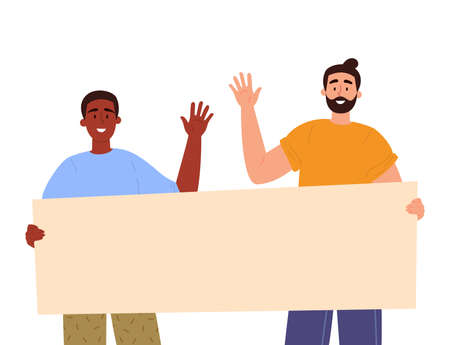 Guys holding a blank poster with place for text. A young people holds a bullet leaf in their hands. Teenagers shows a poster and waving their hands. Vector trendy illustration.