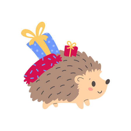 Cute hedgehog holding wrapped gift boxes. Design for t shirt print, greeting card, poster. Hand drawn vector illustration.