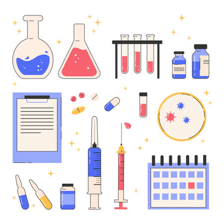Set of vector line icons about vaccination. Concept poster with various objects that stand the invention of the vaccine and vaccination. Glass flasks, medicines, syringes. Vector medical illustration.
