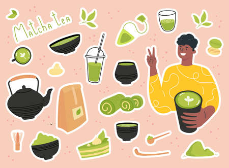 Green matcha tea serve and drink by a young man. Set of Matcha healthy drink stickers. Various tea products made from matcha. Japanese tea culture. Hand drawn vector colored trendy illustration.