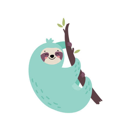 Cute hand drawn sloth hanging on the tree. Lazy animal character. Jungle animal. Design for t shirt print, greeting card, poster. Hand drawn vector illustration. 向量圖像