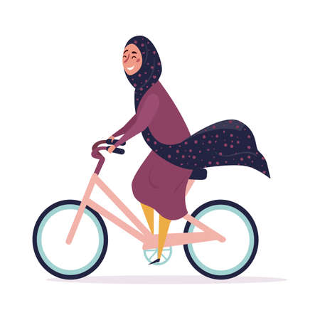 Young Muslim woman wearing trendy clothes and hijab rides a bicycle. Fashionable Arab girl. Female character isolated on white background. Flat cartoon vector illustration.