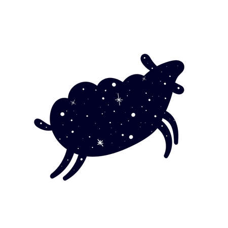Dark silhouette of a sheep. Sheep in a pattern of shining stars. Flat vector illustration isolated on a white background.