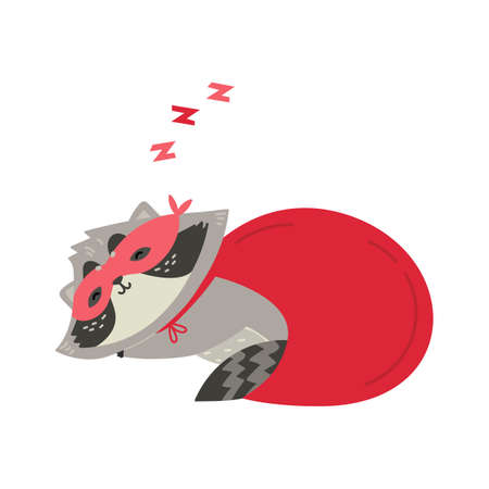 Cute raccoon is sleeping in superhero costume. You are my hero. Animal wear mask of a hero and purple cloak. Flat vector illustration isolated on a white background. 向量圖像