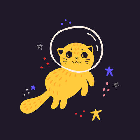 Kids cute illustration with cat in space. Space background. Print for T-shirts, textiles, web. Cat in a spacesuit. Flat vector illustration isolated on a dark background. 向量圖像