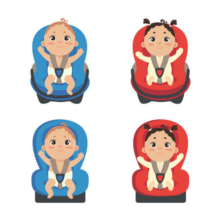 Baby girl and boy sitting in automobile seat. Set of car chair for baby. Front view of carseat. Vector illustration on white background.