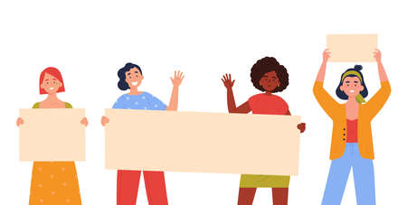 Teenagers showing posters. Collection of young women standing and holding blank banner. Female protesters or activists. Political meeting and protest. Vector trendy illustration.