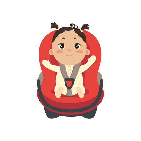 Baby girl in car chair. Cute little fastened girl sitting in automobile seat. Front view of carseat. Vector flat style illustration on white background. 向量圖像