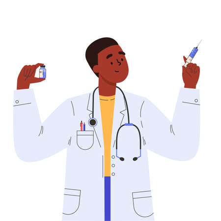 Vaccine discovery concept. Scientists doctor with test tube and syringe working. Young male african american doctor in a medical gown. Vector illustration in flat cartoon style.