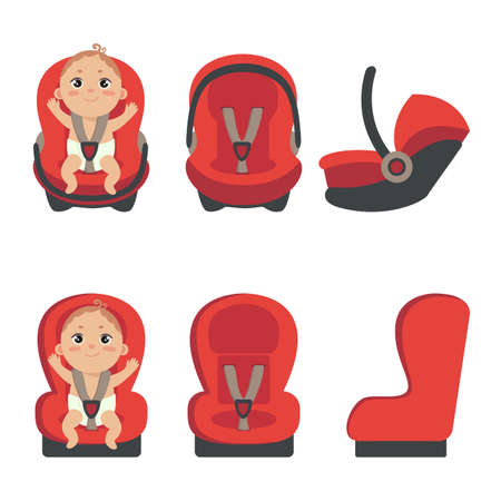 Baby boy sitting in automobile seat. Set of car chair for baby from different angles. Side and front view of carseat. Vector illustration on white background.