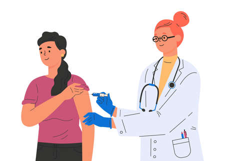 A female doctor makes a vaccine to female patient. Concept illustration for immunity health. Covid vaccine. Doctor in gloves and protective gown. Flat illustration isolated on white background.