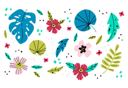 Vector illustration in simple flat style. Tropical leaves and flowers. Background with plants and leaves. Design for greeting cards, posters, banners and placards. 向量圖像