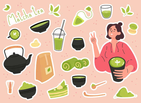 Green matcha tea serve and drink by a young woman. Set of Matcha healthy drink stickers. Various tea products made from matcha. Japanese tea culture. Hand drawn vector colored trendy illustration. 向量圖像