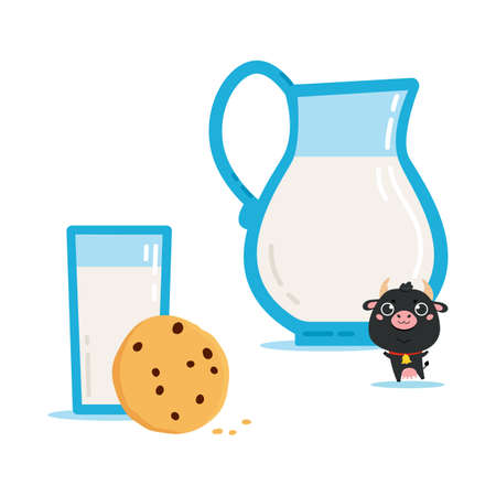 Illustration of cow with jug, glass of milk and cookies. Cute cartoon clipart on white background. Vector illustration for printing on products and packaging containing milk in simple style.