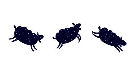 Three jumping sheep. Dark silhouette of a sheep. Sheep in a pattern of shining stars. Flat vector illustration isolated on a white background.