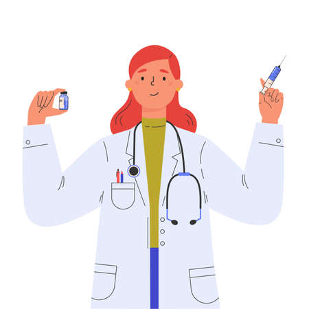 Vaccine discovery concept. Scientists doctor with test tube and syringe. Young female doctor in a medical gown. Vector illustration in flat cartoon style. 向量圖像