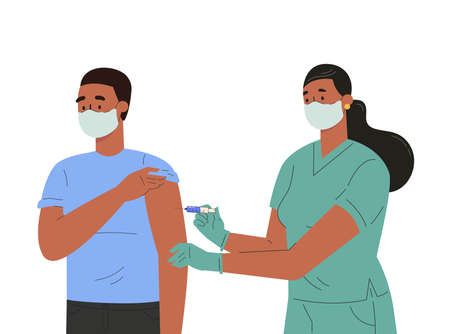 A female nurse makes a vaccine to male patient. Concept illustration for immunity health.