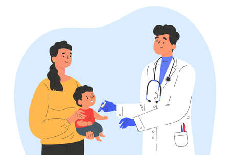 Male doctor makes a vaccine to a child. Concept illustration for immunity health. Woman with baby in hospital. Doctor in a medical gown and gloves. Flat illustration isolated on white background.