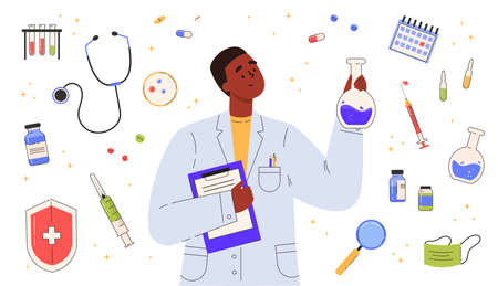 Vaccine discovery concept. Scientists doctor with flasks and folder working on antiviral treatment development in a medical gown. Set of medical objects. Vector illustration in flat cartoon style.