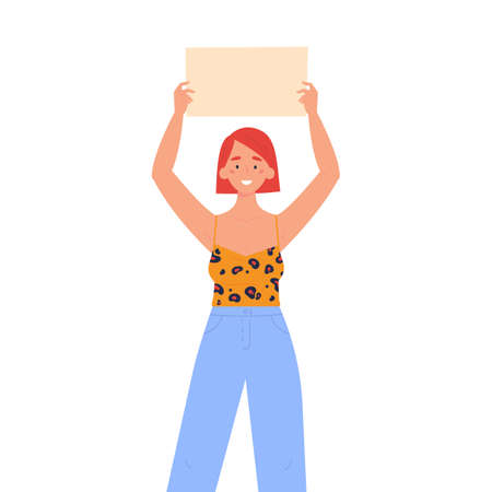 Girl holding a blank poster with place for text. A young woman holds a bullet leaf in her hands. Teenage girl shows a poster. Hand drawn style vector trendy illustration.