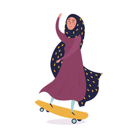 Young Muslim woman wearing trendy clothes and hijab skates. Fashionable Arab girl. Female character isolated on white background. Flat cartoon vector illustration.