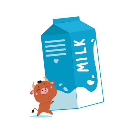 Illustration of farm cow with pack of milk. Cute cartoon animal character on white background. Vector funny mascot for printing on products and packaging containing milk in simple style.
