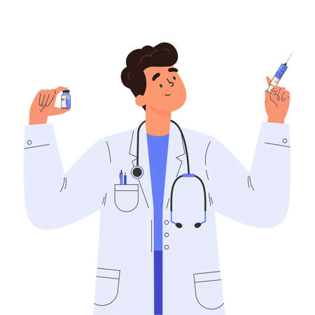 Vaccine discovery concept. Scientists doctor with test tube and syringe. Young male doctor in a medical gown. Vector illustration in flat cartoon style. Ilustração