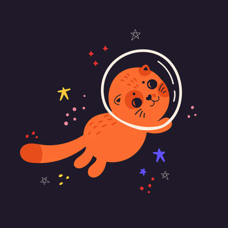 Kids cute illustration with cat in space. Space background. Print for T-shirts, textiles, web. Cat in a spacesuit. Flat vector illustration isolated on a dark background. Ilustração