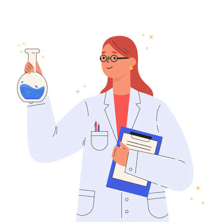 Vaccine discovery concept. Scientists doctor with flasks and folder working on antiviral treatment development. Young female doctor in a medical gown. Vector illustration in flat cartoon style.